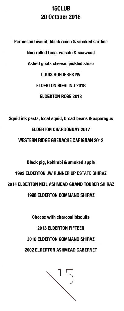 Barossa Valley wine dinner