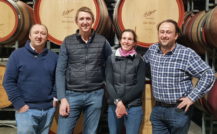 Cameron, Brock, Jules and Allister in Elderton's winery