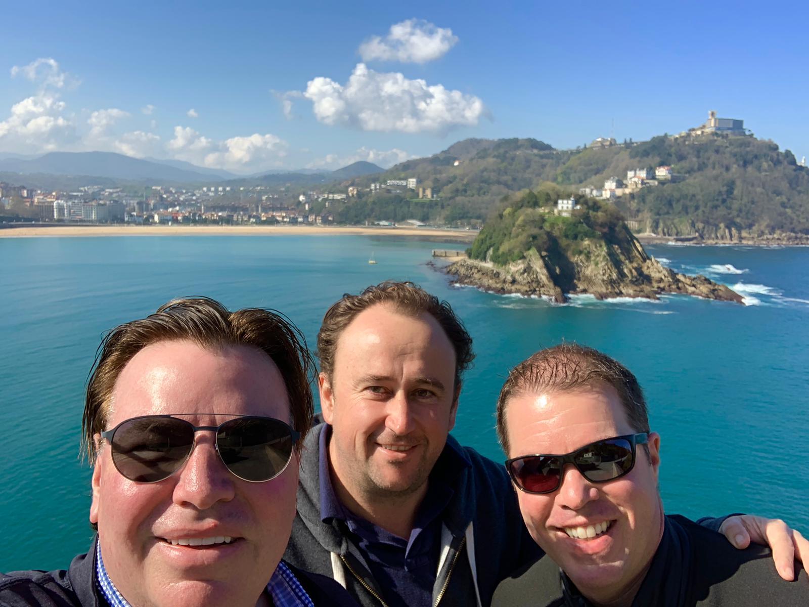 Allister in San Sebastian with Eldertonians Barry and Jake